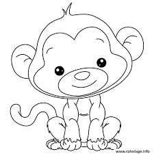 coloriage adorable petit singe pour enfant dessin