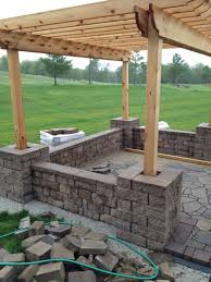 Backyard Brick Patio Design With Grill Station Seating Wall And by Top Ten Outdoor Patios For Summer And Link Party Garden Ideas