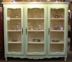 display cabinet glass doors large french country painted bookcase or display cabinet with 3