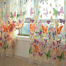 Blue Butterfly Curtains Offset Printing Butterfly Sheer Curtain Organza Child Window