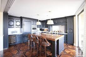 blue kitchen cabinets with wood countertops blue kitchen cabinets with wood countertops and octagon