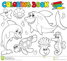 coloring book with marine animals 2 stock photography image