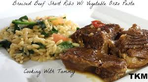 braised beef short ribs recipe with vegetable orzo pasta youtube