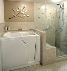 Walk In Bathtubs With Shower In This Master Bathroom Remodel We Installed A Walk In Bathtub And