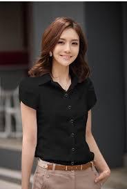 fashion trends collar cap sleeves women black dress shirt with
