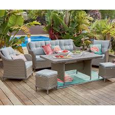 All Weather Wicker Outdoor Furniture Terrain - early settler hadley sofa set with dining table 6 piece