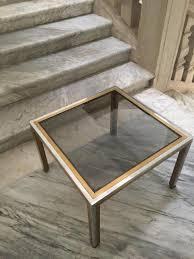 vintage italian brass u0026 smoked glass coffee table by romeo rega