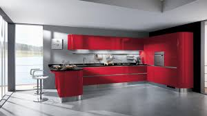 bright color kitchen layout design with red cabinet and backsplash