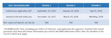 stanford gsb releases deadlines for the 2017 2018 application
