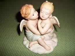 vintage porcelain angel figurinekissing angelhome interiors