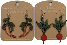 green tree earrings tree jewelry carrot and radish wood wooden laser cut earrings