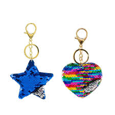 color key rings images Star and heart reversible sequins key chains for women and girls jpg
