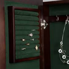 Jewelry Armoire With Lock And Key Amazon Com Wall Mounted Locking Wooden Jewelry Armoire 14 5w X