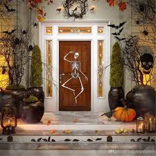 Halloween Backdrop Happy Halloween Photography Backdrops Out House Skeleton On Door