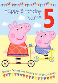 peppa pig birthday peppa pig birthday card 5 today funky pigeon