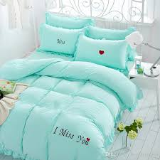Cotton Bed Linen Sets - i miss you embroidery washed cotton bedding set comforter duvet