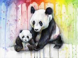 panda watercolor mom and baby painting by olga shvartsur