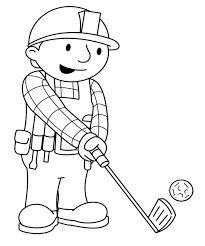 bob the builder palying golf coloring page kids coloring pages