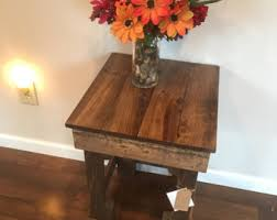 Distressed Wood End Table End Table Etsy