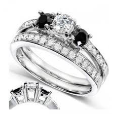 black diamond bridal set engagement rings bridal sets carat white and black diamond women