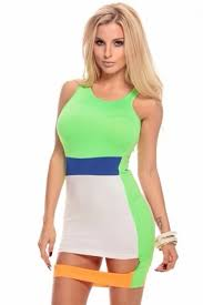 neon lime sleeveless color block cutout bottom body con dress