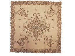 desert sand coffee table topper gold beadwork decorative net