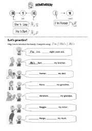 worksheet she is he is i am
