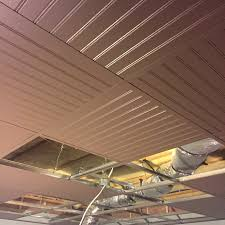 suspended ceiling drop ceiling grid painted with bead board panels