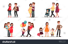 set characters showing stages development family stock vector