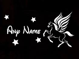 custom made personalized name pegasus wings wall sticker