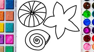 seashells drawing and coloring for kids coloring pages for kids