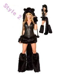 Womens Fox Halloween Costume Party Furry Fancy Dress Cat Wolf Fox Animal Halloween Game