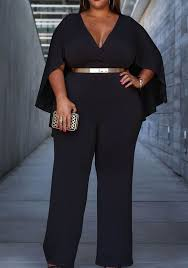 plus jumpsuit black ruffle cleavage cloak high waisted plus size wide leg