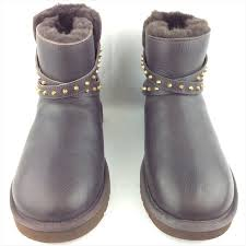 ugg womens emerson boots chestnut 69 ugg shoes ugg emerson brown leather studded mini boots