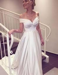 satin wedding dresses shoulder white satin prom wedding dress flosluna flosluna