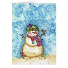 watercolor snowman greeting cards zazzle