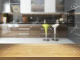 les fonds de cuisine vide bureau en bois avec floue fond de cuisine rendu 3d disponible