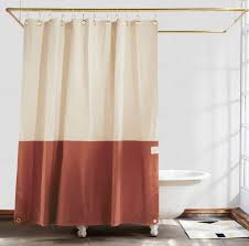 Rust Colored Curtains Orient Clay Color Blocked Shower Curtain Quiet Town