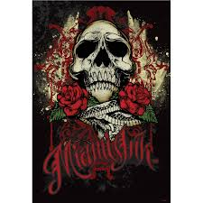 ink tattoo skull black and red feature wall wallpaper mural
