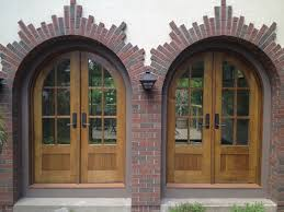 Exterior Wooden Doors With Glass by Furniture Brown Wooden Door With Curved Glass Panel Using Black
