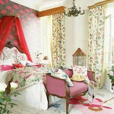 french country style bedroom with floral bedding and curtains and