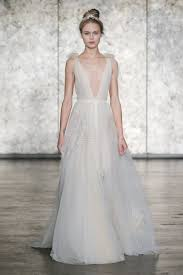 wedding dresses inbal dror v neck tulle wedding dress with feather embroidery fall