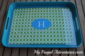 monogrammed serving tray custom placemat 3 99 and diy monogram tray idea my frugal