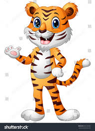 vector illustration funny tiger cartoon waving stock vector