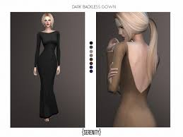 serenity cc u0027s dark backless gown