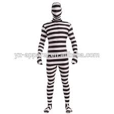 Morph Halloween Costumes White Black Striped Morph Suit Halloween Spandex Men