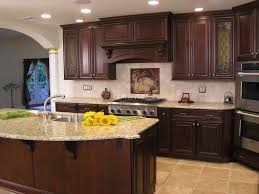 kitchen with glass doors fabulous brown color mahogany wood kitchen cabinets featuring