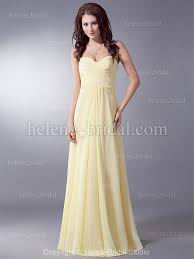 Canary Yellow Dresses For Weddings A Line Strapless Sweetheart Long Floor Length Chiffon Elastic