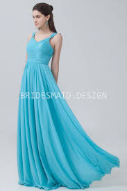 pool blue floor length sweet chiffon bridesmaid dress beaded