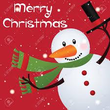 merry christmas tekst en leuke sneeuwman op rode achtergrond